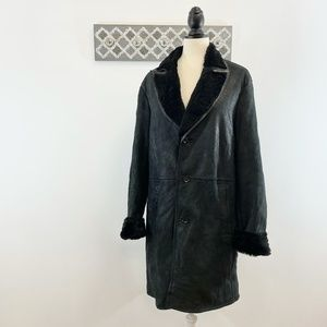KENZO Leather Goat Suede Shearling Coat, Size L/XL